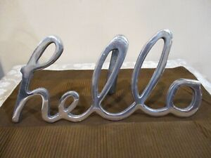 """Free Standing Table """"Hello"""" Home Decor Sign, 6.3/4"""" Tall/12 7/8"""" Wide (1pc)"""