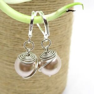HANDCRAFTED WIRE WRAPPED LEVER BACK HOOK DROP EARRING