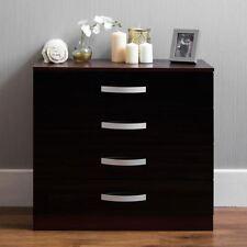 Hulio Drawer Chest 4 Drawers High Gloss Storage Bedroom Furniture Black & Walnut