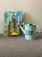 LITTLE GARDEN M&S MARKS AND SPENCER GARDENING TOOLS AND WATERING CAN BRAND NEW .