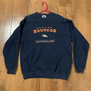 Denver Broncos Sweatshirt Lee Heavyweight Navy Blue NFL Embroidered Logo Size L