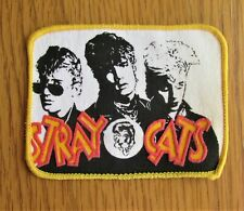 More details for stray cats vintage printed sew on patch from the 1980's rockabilly pop