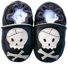 New Born Baby Shoes Soft Sole Leather Infant Boy Gift Crib SkullBrown 0-3M