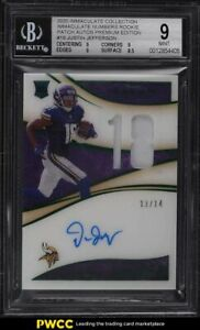 2020 Immaculate Collection Numbers Justin Jefferson RC PATCH AUTO /14 #18 BGS 9