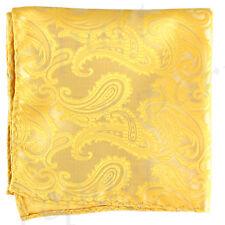 New Brand Q Men's  micro fiber Pocket Square Hankie Only paisley Yellow formal