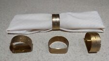 New listing 4 Gold Metal Textured Flat Bottoms Napkin Ring Holders Vgc