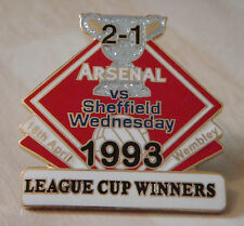 ARSENAL v SHEFFIELD WEDNESDAY Victory Pins 1993 LEAGUE CUP Danbury Mint badge