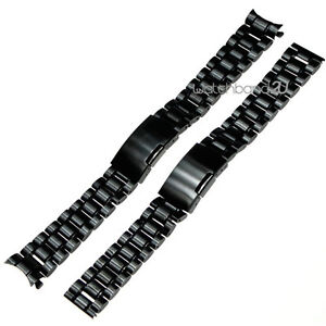 PVD Black Stainless Steel Solid Links Bracelet Watch Band Strap 18 to 24 mm