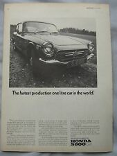 1968 Honda S800 Original advert