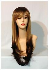 Stylish Long Wavy Wigs, Party,Cosplay, Brown And Blonde Two Tone Colour