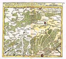 """Vaugondy Map -1748- """"CARTE DU Cte DE HAYNAUT"""" - Hand-Colored Engraving"""