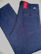 NWT LEVI'S 36 x 30 BATTALION Linen Blend Stretch Low Looser Straight Blue Pants