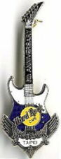 Hard Rock Cafe TAIPEI 2000 6h Anniversary PIN Blue/White Guitar w/Wings HR #9652
