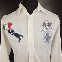 LA MARTINA Mens Shirt POLO MEDIUM Long Sleeve White Regular Fit  Cotton