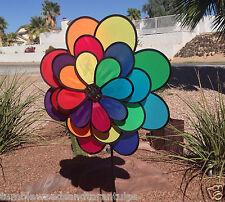 Wind Spinner Rainbow 3-Wheel 24-Petal Flower Windmill / Vegetable Garden X-Bird