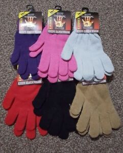 WOMENS LADIES PLAIN HOT THERMAL GLOVES KNITTED WINTER WARM GLOVES