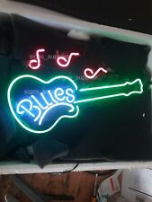 """New Blues Guitar Musical Notes Beer Bar Gift Pub Neon Light Sign 24''X20"""""""