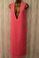 Solace Pink Deep V Plunge Shift Cocktail Party Midi Relax Occasion Dress 12 40