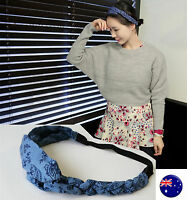 Women lady Girl Boho Retro cotton blue braided elastic Hair band Headband Wrap