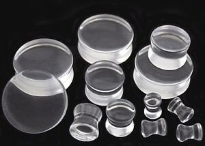 1pc 2-30mm Clear Transparent Retainer Double Flare Ear plug Saddle Earring Gauge