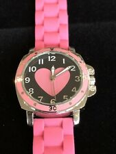 BORA PINK HEART SYMBOL WOMAN's Fashion WATCH WITH A PINK SILICONE WATCH BAND 9""