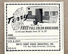 1966 Print Ad Terry Travel Trailers Made in Riverside, CA