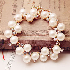 Fashion Women Charm Pearl Gold Plated Crystal Rhinestone Cuff Bangle Bracelet