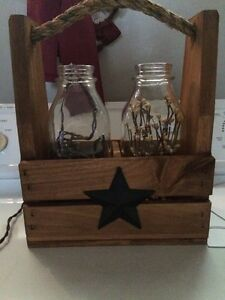 Primitive/Country Wooden Crate w Milk Glass Bottle