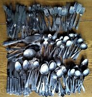 Mixed Lot 200+ Silverplate Flatware Place & Serving Pieces Craft Sell Free Ship