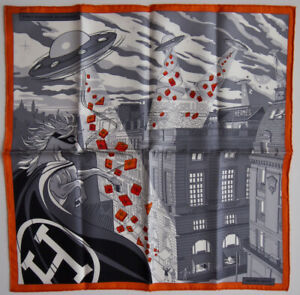 New Authentic Hermes Space Shopping au Faubourg 45cm silk scarf gavroche