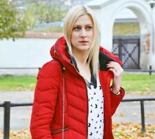 ZARA Red Anorak Quilted Parka Puffer Jacket Coat Size Small S