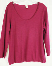 L Kinross 100% Cashmere Heather Berry Pink Sweater Long Sleeve
