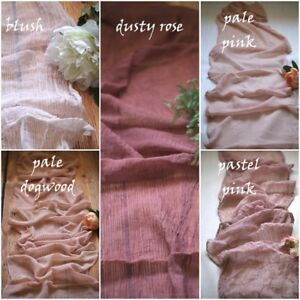 Gauze Wedding Cheesecloth table runner, Wedding table decor, Styling Rustic Pink