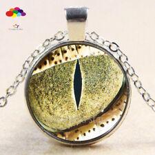 Vintage Cabochon Tibetan Silver Glass snake eye Chain Pendant Necklace zqd102