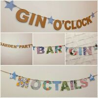 Summer Garden Party BBQ Gin Pimms O'clock Wedding Banner Bunting decorations