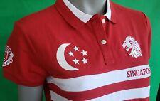 Red POLO SHIRT, SINGAPORE Lion, size M, 97% Cotton
