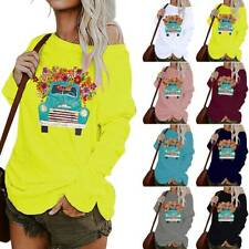 Womens Long Sleeve Tunic Blouse Pullover One Shoulder Baggy Casual Shirts Tops
