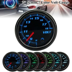 """2"""" 52mm Universal Car 7 Color Led Pointer Voltmeter Voltage Volt Gauge 8-18V UK"""