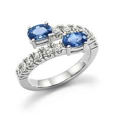 1.74 Ct Oval Natural Diamond Blue Sapphire Ring Gemstone 14K White Gold Size N