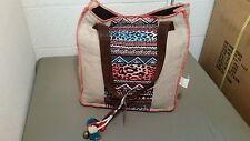 New Billabong Animal Print Tribal Boho Tote Shopper Bag With Tassel~SAMPLE