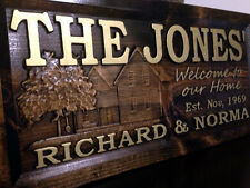 "11"" x 23"" Wood Carved Personalized Farm House Sign. Farm Sign, Homestead Sign"