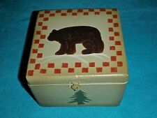 "RUSTIC WOOD BOX 6 1/2"" GREEN WITH BROWN BEAR ON TOP AND EVERGREENS ON SIDES~NEW"