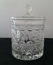 Vintage Cut Glass Biscuit Jar Cornflower