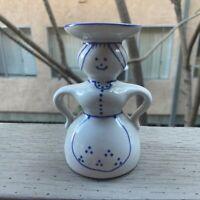 """Topferei Handarbeit 5"""" Woman Blue Candleholder"""