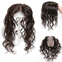 Real Curly Wave Human Hair Topper Clip in Hairpiece Toupee Top Piece Extensions