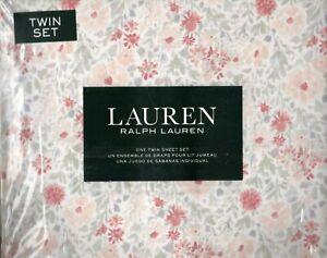 Ralph Lauren Twin Sheet Set Caroline Floral 3pc Blush Pink Coral Greys Cottage