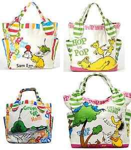 Dr. Seuss Canvas Tote Bag 100% AUTHENTIC Hop on Pop Sam I am NEW Handbag