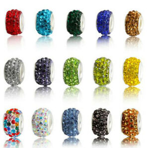 HOT 50pc Rhinestone Crystal Big hole Beads Fit Jewelry making DIY Charm Bracelet
