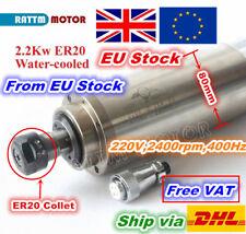 ◤UK◢ CNC 2200W 2.2KW Water Cooled Spindle Motor 24000RPM 400HZ SPINDLE ER20 220V