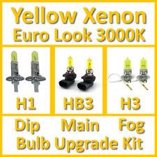 Warm White 3000K Yellow Xenon Headlight Bulb Set Main Dip Fog H1 HB3 H3 Kit